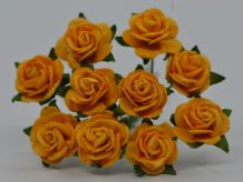 1.5cm DEEP YELLOW GOLD Mulberry Paper Roses